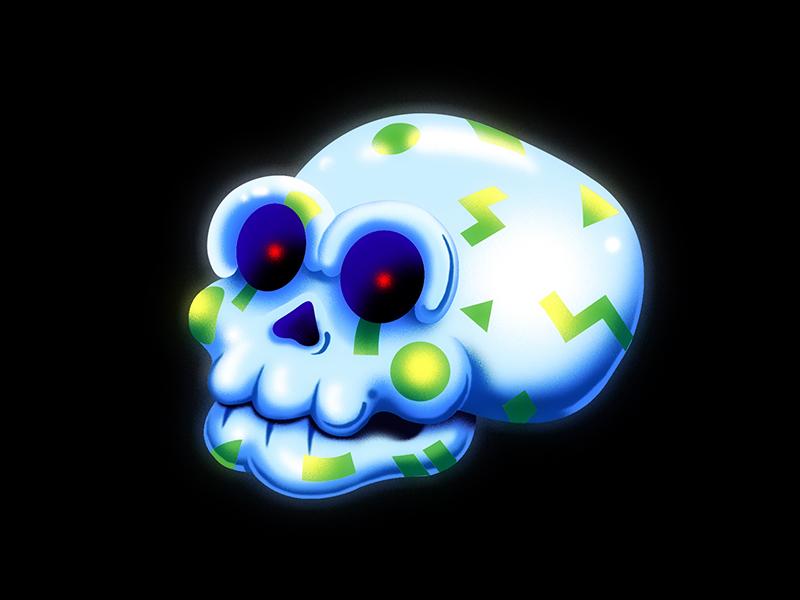 Future Diseases - Nanoparticle Toxicity digital nano retro skull airbrush 90s 80s spot illustration future disease editorial illustration medium