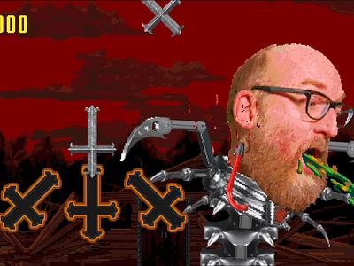 Mecha Brian Posehn 8-bit 16-bit animation 90s pixel art video game game design metal headbang red fang antidote brian posehn