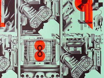 1984 Print george orwell design lettering book art studio super andy gregg 1984 risograph riso print poster