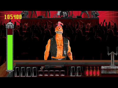 Smash Your Skull! 90s demon monster smash your skull antidote headbang app game design andy gregg studio super metal red fang arcade pixel art game art video game retro motion animation