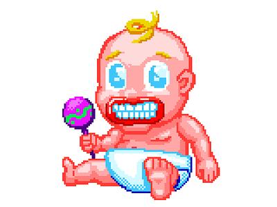 Baby with Adult Teeth studiosuper andy gregg baby 16bit illustration 90s video game pixel art retro
