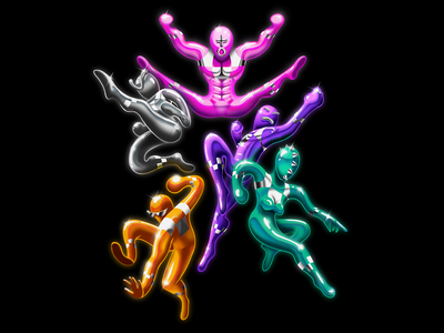 OTHER Studio 5 Year Anniversary colorful color retro 5 year anniversary design andy gregg studio super airbrush power rangers super sentai illustration other studio