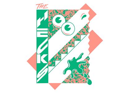 "The Hecks ""Chomp Chomp Goo"" Tee chicago indie rock andy gregg studio super graphic postmodern retro 90s 80s pomo handlettering type lettering design print band shirt band t-shirt band tee illustration the hecks"