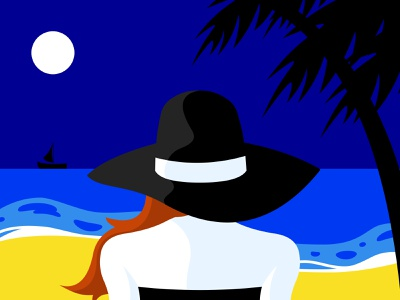 Summer Beach Vibes Part 2 boat art digital art woman graphic design sketch vector sea ocean landscape beach sand yellow blue white red