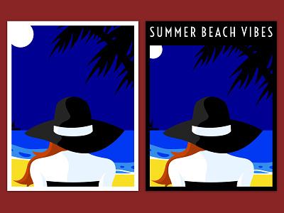Summer Beach Vibes Prints graphic design print boat woman sketch vector artwork art ocean sand yellow blue white red vibes beach summer