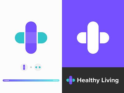 Simple Health Care Logo bandage purple blue sketch vector doctor health health care branding logo illustration web design website minimal web design