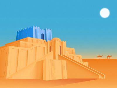 Ziggurat of Ur art digital vector ancient geometric illustrator design illustration