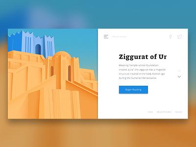 Ziggurat of Ur - Web Mockup mockup web design webdesign web ux ui split screen split material illustration flat design