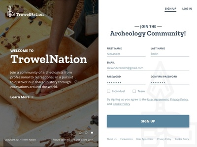 TrowelNation - Home Page Design