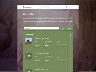 TrowelNation - Excavation Page Design