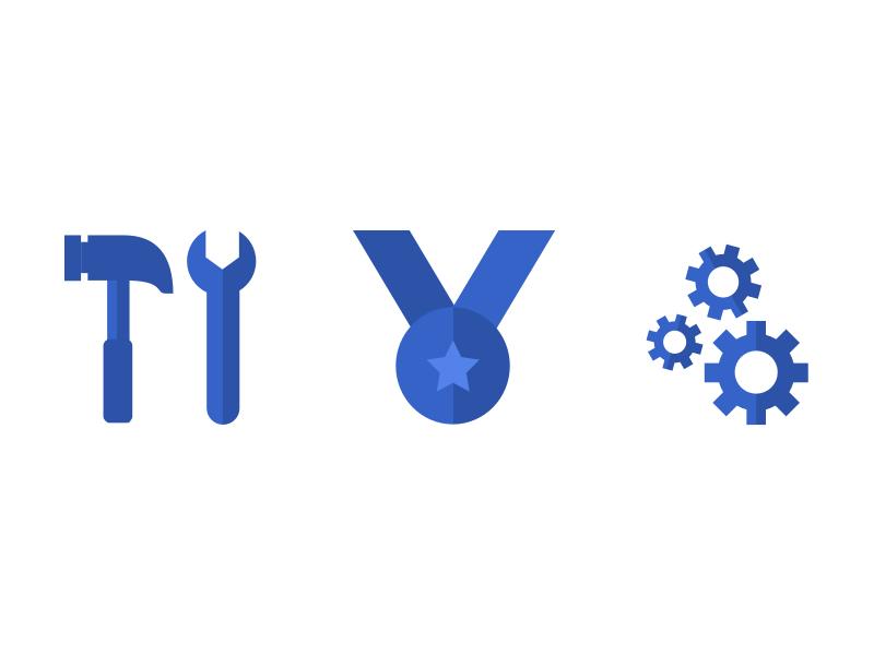 RW - Site Icons Set 2 advertising marketing iconography illustrations icons flat blue