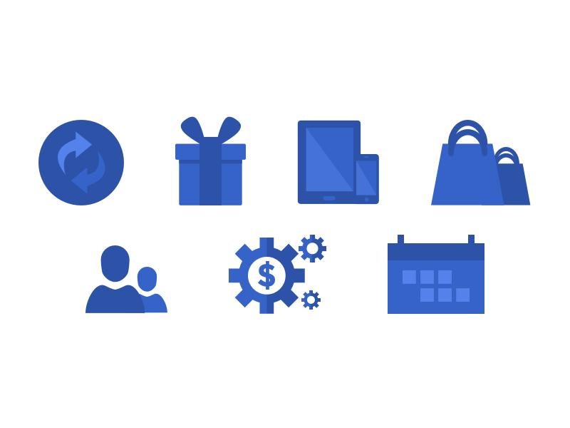 Icon Sheet 3 advertising marketing design illustrations blue iconography icon flat