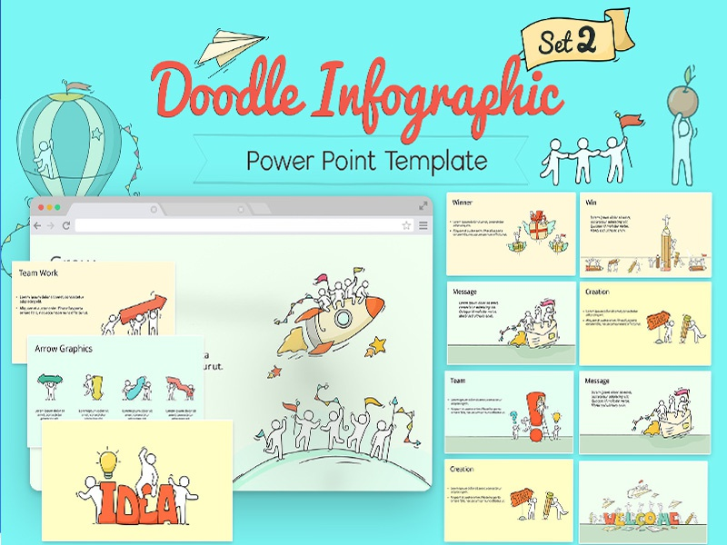 Powerpoint Doodle Infographic Set 2 By Ink Ppt Dribbble Dribbble
