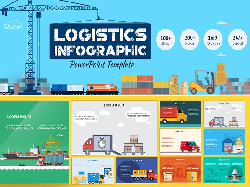 logistics powerpoint infographic set by ink ppt dribbble dribbble