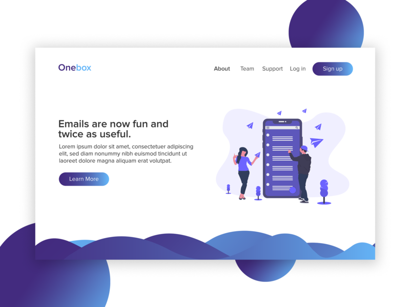 Onebox Website UI website flat design web ui ux
