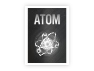 Atom dark vector typography grain space cosmos retro texture illustration illustrator design