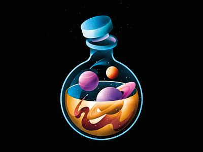 Chemistry of Galaxy poster 2d retro cosmos texture space design illustration stars galaxy illustrator procreate