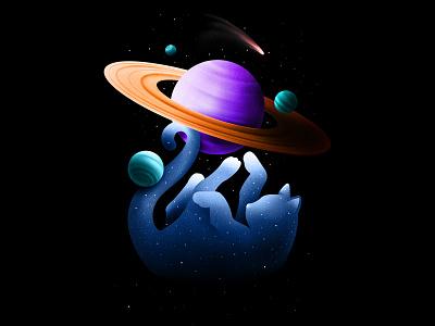 The Creator procreate poster space cat animal retro cosmos texture illustration illustrator design