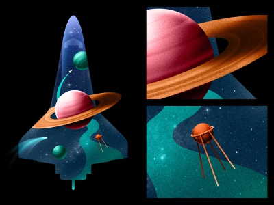 Space Shuttle poster retro cosmos texture 2d space adobe illustration illustrator design