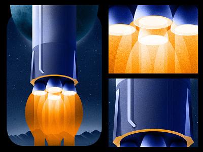 Rocket Engine poster retro cosmos texture space 2d adobe illustration illustrator design