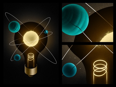 let there be light! poster retro cosmos texture space 2d adobe illustration illustrator design