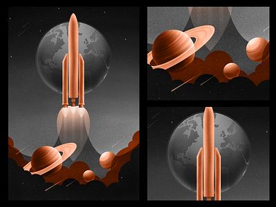 Ariane 5 rocket poster vector retro cosmos texture space 2d illustration illustrator design