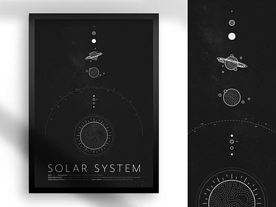Solar System Poster dark planets 2d texture poster earth sun illustrator illustration cosmos space system solar