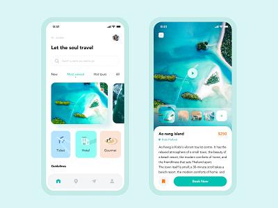 Travel concept design ux island app concept ui design