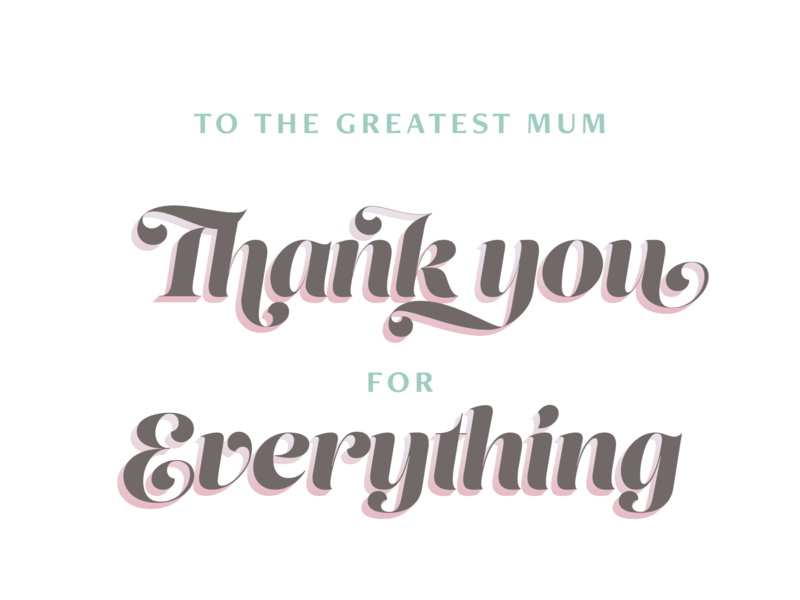 Thank you card type print vector typeface
