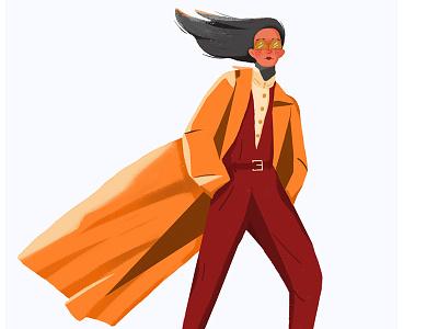 routine4 windbreaker girl illustration wind