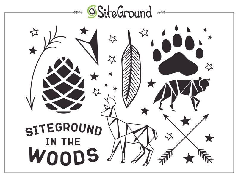 SiteGround In The Wood Tattoo Set animals origami woods branding gift tattoo tattoo art temporary tattoo design