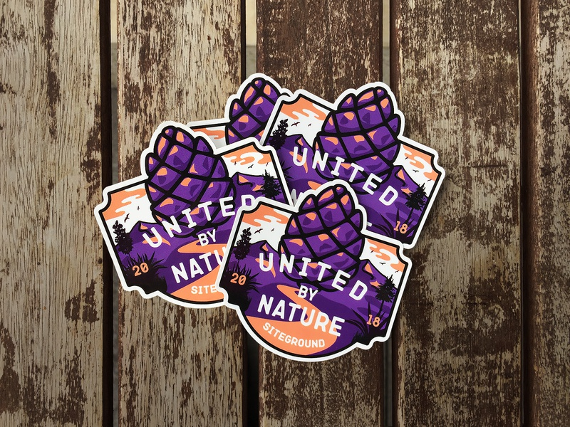 United by Nature Sticker sticker design typography gift vector illustration design branding nature sticker