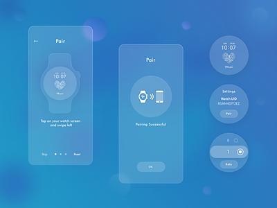 Neuromodulation Smartwatch App & Mobile App glass data schedule manage calendar task analytics smartwatch watch sensor implant patient doctor healthcare medicine health mobile app ux ui