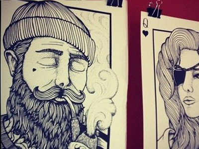 King & Queen dot shading illustration playing cards silkscreen printed nautical sailor drawing