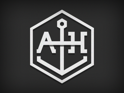 AH Logo identity vector flat hexagon anchor logo