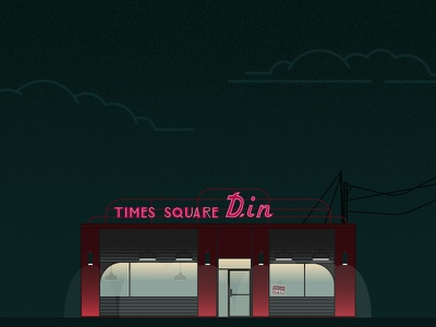 He Never Died Diner diner design flat times square diner he never died vector illustration night