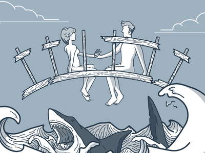 Entrada - Today's the Last Day  mute illustration vector shark waves bridge couple