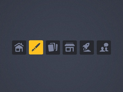 Icon Designs icons dashboard home house paint brush pages shop rocket help community