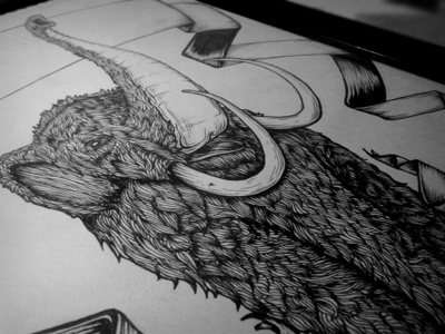 Wooly wooly illustration drawing woolly mammoth