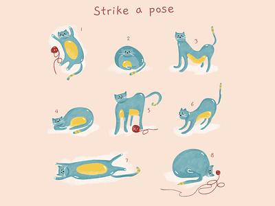 Strike a pose 📸 love animal lover fluffy poser pose wool cute animals animal illustration animal home cats cat cat illustration illustration
