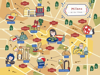 Milano Map 📍🇮🇹 flatmate flat friendship friends memories study university ice-cream pizza foodie food italian food italy city illustration city milan milano illustrated map map illustration