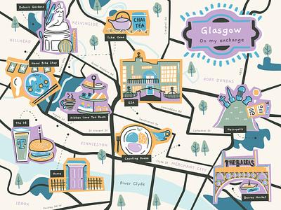 Glasgow Map 📍🏴 sculpture illustration art school river design exchange university memories tea scones food burger beer uk scotland glasgow city illustration city map illustration map illustration