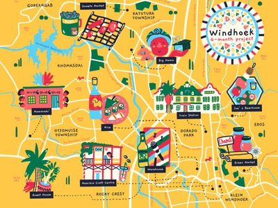 Windhoek Map📍🇳🇦 township african animals design travel memories love kids music art nature windhoek namibia african africa illustrated map city illustration city map food illustration