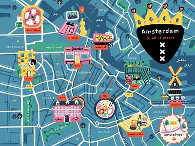 Amsterdam Map📍🇳🇱 love bikes canals market restaurants pizza food illustration food windmill dutch expat holland netherlands amsterdam cityscape city map city illustrated map map illustration