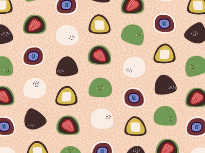 Mochi Pattern creative cooking filling asia food pattern patterns asian food cuisine treats sweet tooth sweetness sweets dessert cooking homemade mochi pattern design pattern foodie food illustration