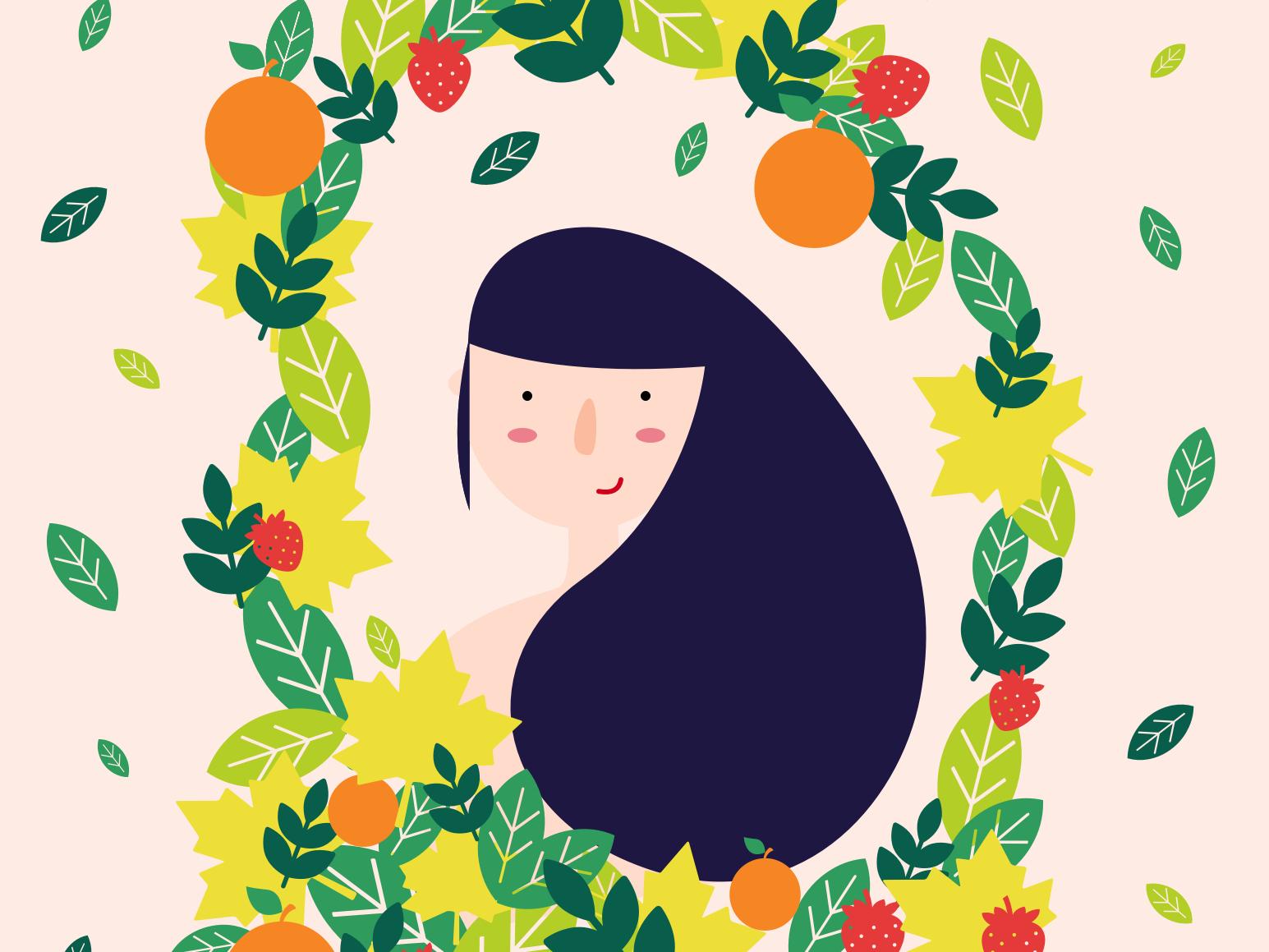 Lady Nature. girl portrait leaves fruit woman nature vector illustration