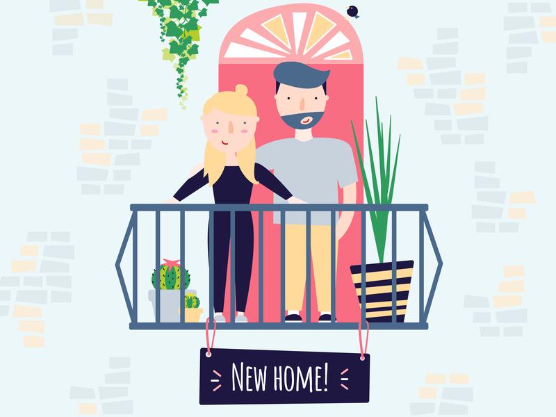 Milestones. boy girl relationship plants love couple balcony home vector illustration