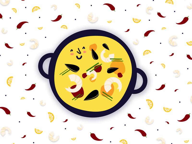 Happy Paella. happiness happy dish spanish pan seafood fish shrimp chili pepper chili pattern paella foodporn food spain vector illustration