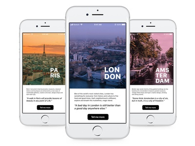 Daily UI 45 - Info Card travel discover explore visit sightseeing vacation holidays tourism amsterdam paris london cities dailyui45 daily ui challenge daily ui interface app ui application design