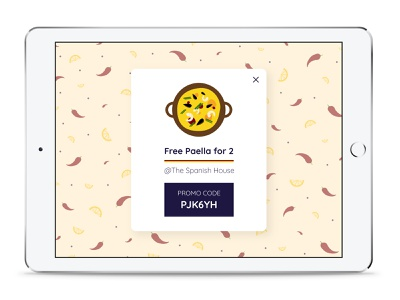 Daily UI 61 - Redeem Coupon promotion restaurant spanish spain paella redeem coupon coupon code coupon dailyui61 dailyui illustration food pattern daily ui challenge daily ui interface app ui application design